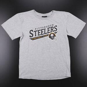 REEBOK Pittsburgh Steelers Grey American Short Sleeve T-Shirt Boys L