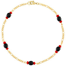 """18k Gold Plated Simulated Azabache Anklet Good Luck Protection Women's 10"""""""