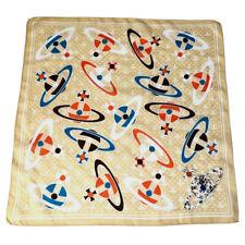 Vivienne Westwood Cotton Square/Scarf/Handkerchief/Bandana Orb Printed Beige