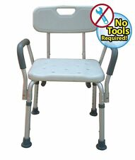 Tool-free Spa Bath Tub Bathtub Shower Chair Seat Bench -White Bath Bench w/ARMS