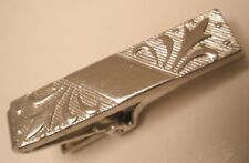 Tiny Decorated Silver Tone Vintage ANSON Tie  Bar Clip plain simple
