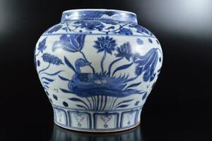 #9867: XF Chinese Blue&White Flower Bird Muffle painting FLOWER VASE Ikebana