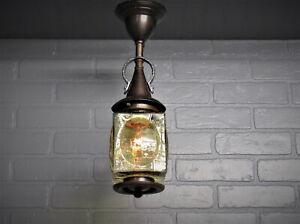 """Vintage Antique 1920's Tudor Copper Porch Ceiling Light Fixture Restored 16.5""""L"""