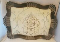 Vintage Florentine Italy Blue Cream Serving Tray Wooden Tole Shabby Chic