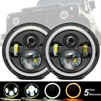 "Pair 7"" Round Projector LED DRL Halo Angel eye Headlights For LandRover Defender"