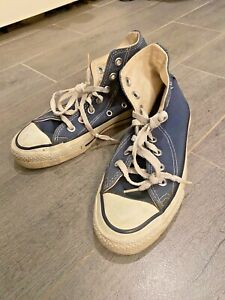 VINTAGE MADE IN THE USA CONVERSE HIGH TOPS BLUE SIZE THREE SUPER NICE.
