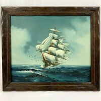 Vintage Original Oil Painting Canvas Ship Sailing Seas Maritime Nautical Signed