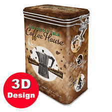 Coffee House  - Hinged Embossed Tin -10cm long by 7cm depth by 17cm high.
