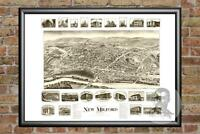 Old Map of New Milford, CT from 1906 - Vintage Connecticut Art, Historic Decor