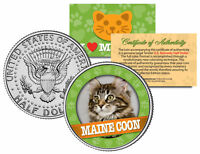 MAINE COON Cat JFK Kennedy Half Dollar US Colorized Coin