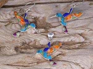 Hummingbird Sterling Silver Multi Gem Stone & Opal Inlayed Pendant Earrings Set