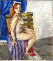 """Russischer Realist Expressionist Öl Leinwand """"Akt"""" 80 x 70 cm"""