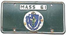 1961 MASSACHUSETTS Political Parking License Plate ceramic seal