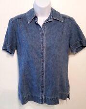 Women's New York & Company Blue Denim Short Sleeve Button Down Shirt sz M