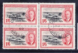 TURKS & CAICOS ISLANDS George V 1950 SG230 1/6 fine used - block of 4. Cat £13