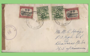 Samoa 1942 2 x ½d & 2 x 1d on censored cover to USA