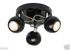 Nouveau ukew ® modernes 3 Head Globe Plafond Spotlight rond noir