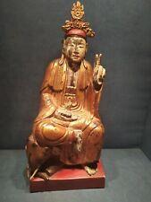 Ancienne Sculpture en Bois Dorée et Laqué Chine XVIIIe