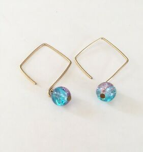 Gold Fill Drop with Pink Blue Glass Beads Handmade
