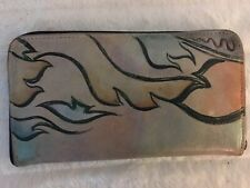 Leather Hand Painted Wallet One Of A Kind Dove In Flight Signed Gorgeous 4x8