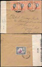 KUT TANGANYIKA ARUSHA to S.AFRICA 1943 CENSORED 20c x 4 + EXTRA 50c TANGA CANCEL