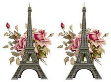 PaRiS FReNcH EiFfeL ToWeR & ShaBbY PinK KLeiN RoSeS WaTerSLiDe DeCALs