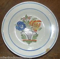 Ancienne assiette faïence de l'est Fin 18 ème 19 ème floral  WALY ou ÉPINAL