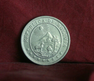 1936 Bolivia 10 Centavos World Coin KM179.1 Llama Sun Mountain South America
