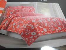 New Nicole Miller Home Full/Queen Quilt  88x92 ~ Orange and White Flower Floral