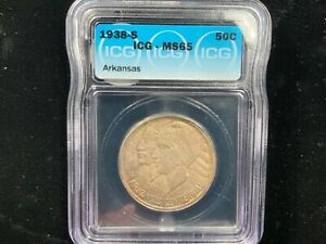 1938-S Arkansas 50c ICG MS65 - Low Mintage Issue - Silver Classic Commemorative