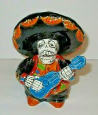 Mexican Talavera Day of the Dead Mariachi Singer with Guitar