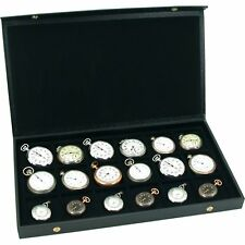 Pocket Watch Display Case Storage Organizer Box For 18 Watches Jewelry Holder