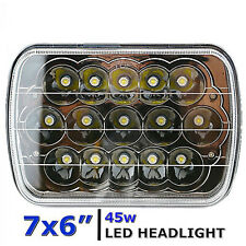"""7X6"""" Black Chrome LED HID  Light Bulbs Clear Sealed Beam Headlamp Headlight"""