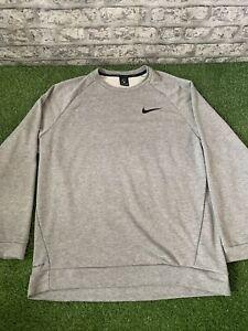 Mens Grey Nike Crew Neck Sweater Extra Large Dri Fit Training Jumper