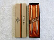 VINTAGE PARKER CLASSIC IMPERIAL GOLD BALLPOINT PEN & .9mm PENCIL SET NEW IN BOX