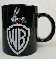 Vtg 1991 Warner Brothers Black Ceramic Coffee WB Bugs Bunny Hollywood Cup Gift