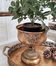 Pokal Amphore Pflanzschale Antik Gold Metall Sabby Vintage Landhaus Deko