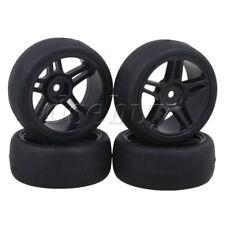 4 x RC1:10 On Road Car Smooth Rubber Tire & Star Plastic Wheel Rim Black