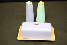 4pc Set Vintage Lindt-Stymeist COLORWAYS Butter Dish w/Lid, Salt Pepper Shakers