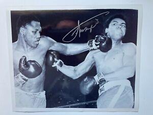 Boxing JOE FRAZIER Autograph Signed 8x10 B&W Action Photo Left Hook vs. ALI 1971