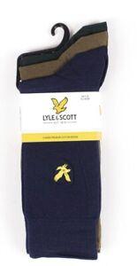Lyle & Scott Angus 3 Pack Socks Peacoat/Navy/Dark Olive 7-11UK 40% Discount!!!