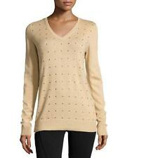 MICHAEL KORS Long Sleeve Studded V-Neck Sweater~Med Camel~Sz XS~NWTS! $130