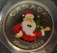 2010 - 25-cent - Santa Christmas Tree - Holiday - Original Sealed - One Coin