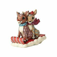 Enesco H7 Jim Shore Christmas 5.2in Rudolph and Clarice Sledding Fig 4058339