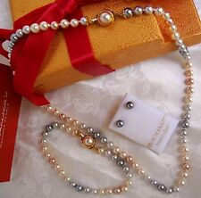 MULTI-COLOR 6MM MAJORCA/MALLORCA PEARL SET 3 PIECES GRAY/PINK GOLD faux majorica