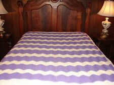 NEW AFGHAN ~ Handcrafted Crochet Throw Blanket Afghan ~ Complex Pattern Purple