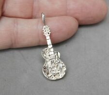 "Electric Guitar Pendant Silverplate 1 1/2""x 1/2"" NIB Boxed New Miniature Replica"