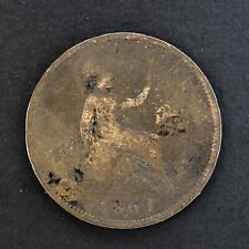 UK Great Britain One Penny 1861 Foreign Coin