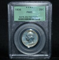1936 WASHINGTON QUARTER ✪ PCGS PR-65 ✪ 25C SILVER PROOF GREEN HOLDER ◢TRUSTED◣