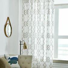 Geometric Curtains Window Drapes Panels Semi-sheer Modern Home Curtain Decor New